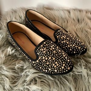 Material Girl Gold Stoned Flats